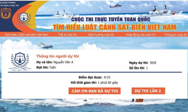 Tổ chức cuộc thi tìm hiểu Luật Cảnh sát biển Việt Nam